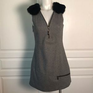 MOSCHINO CHEAP & CHIC GREY WOOL & FUR DRESS